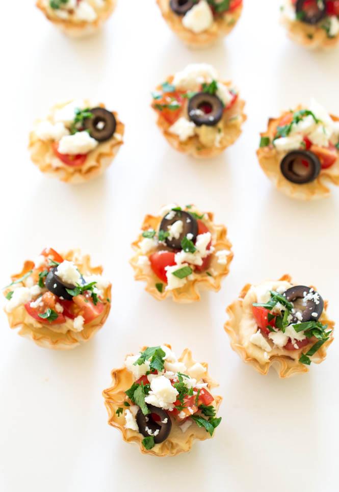 10 Minute Greek Hummus Phyllo Bites | chefsavvy.com #recipe #appetizer #easy #healthy