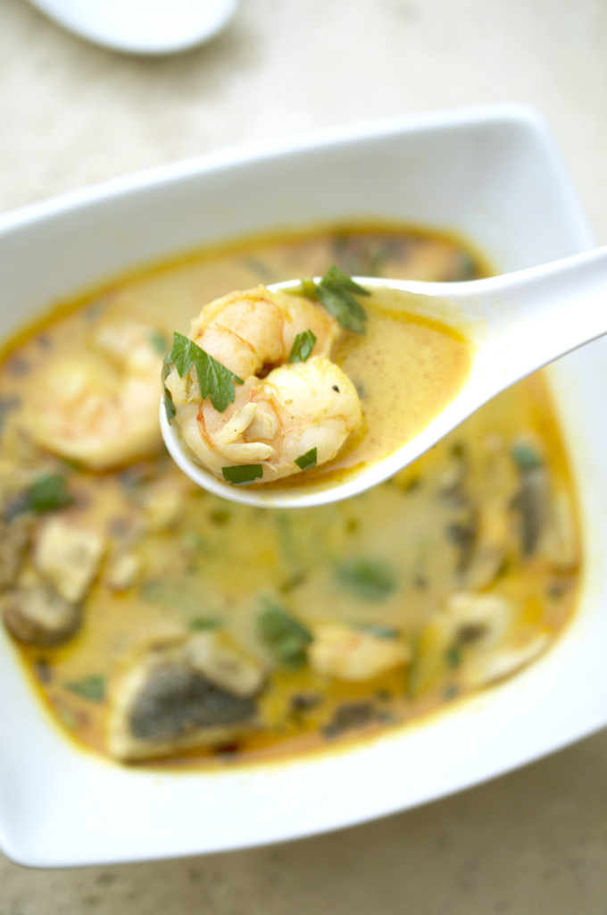 ... Thai Coconut Soup made with curry, coconut milk, vegetables and shrimp
