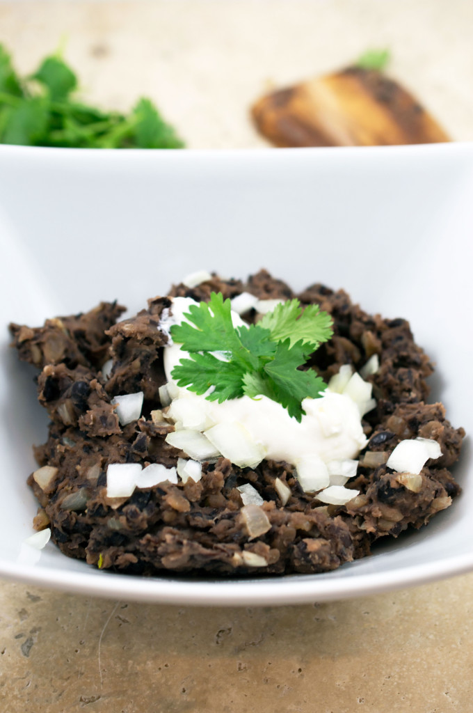 Re-fried black beans