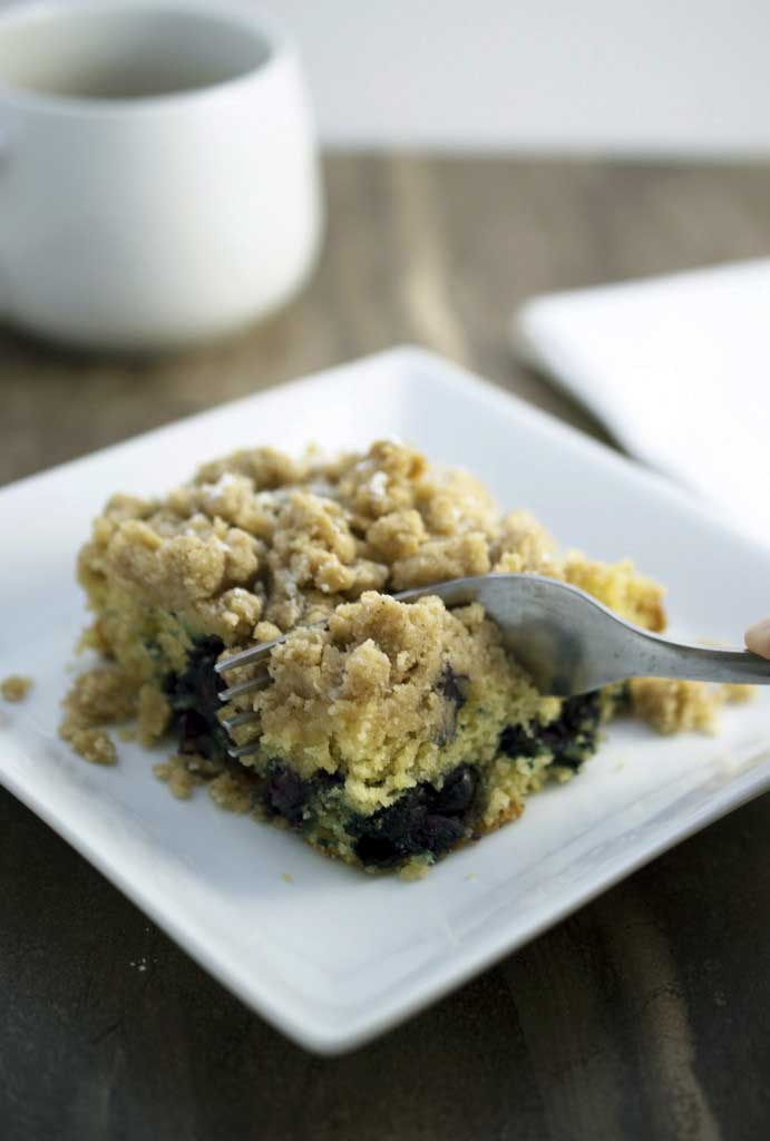 This Blueberry and Sour Cream Coffee Cake is heavy on the crumb ...