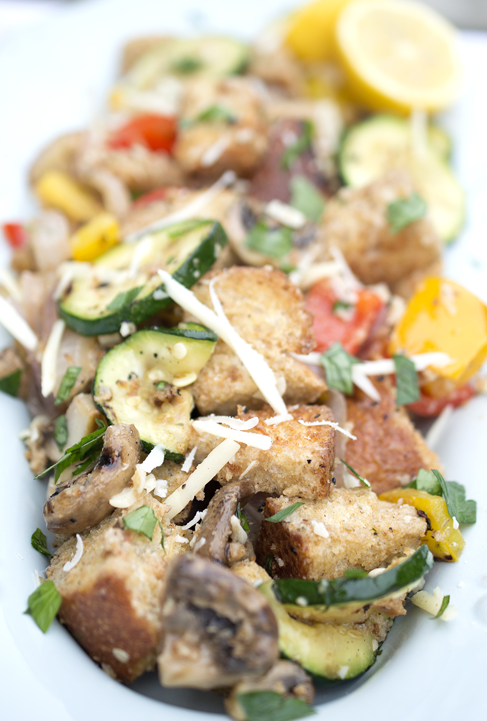 This Grilled Vegetable Panzanella Salad can be served family style on ...
