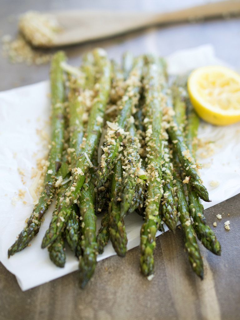Roasted asparagus tossed with homemade garlic parmesan breadcrumbs.