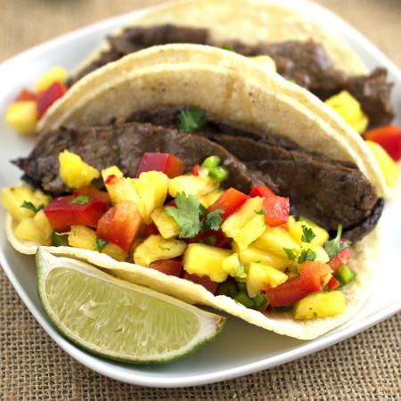 Korean BBQ Tacos with pineapple salsa