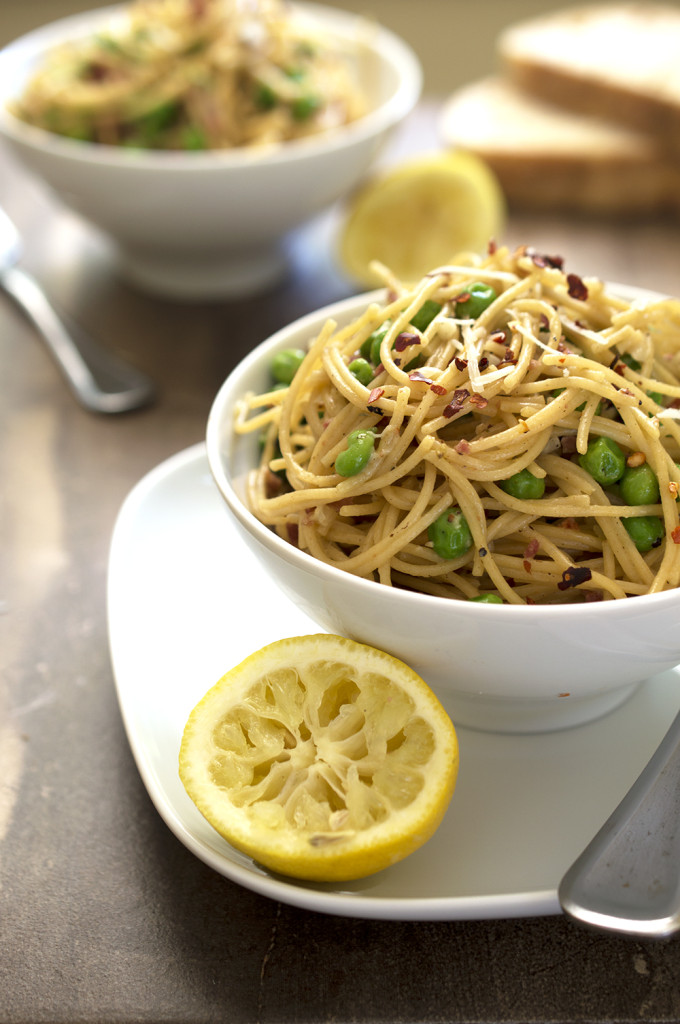 Lighter Spaghetti Pea Carbonara