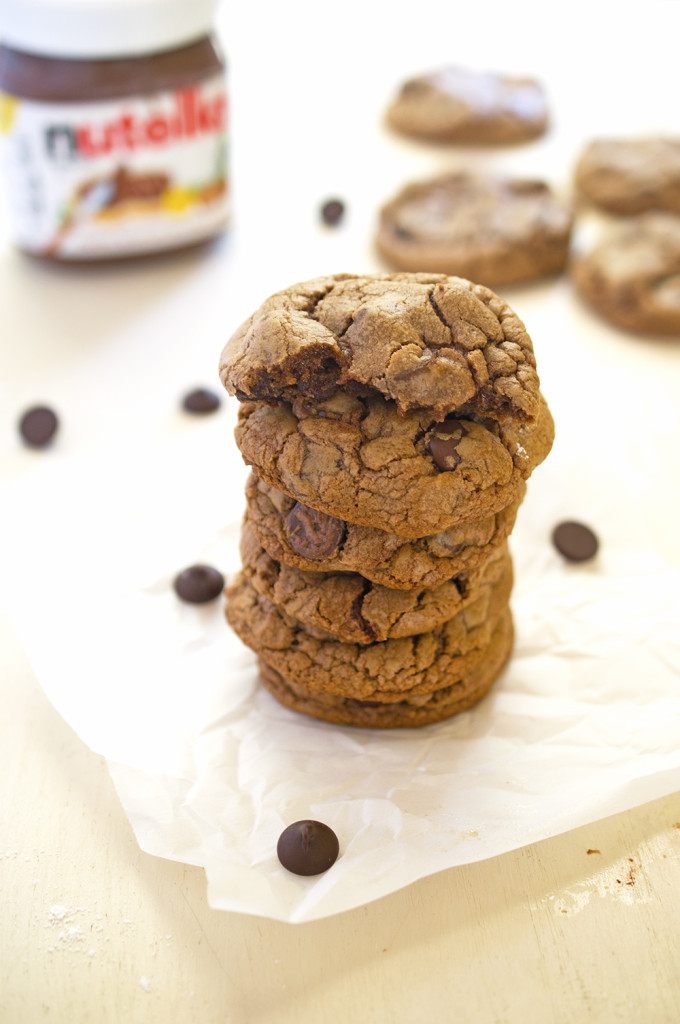 chewy Nutella Chocolate Chip Cookies. Loaded with dark chocolate chips ...