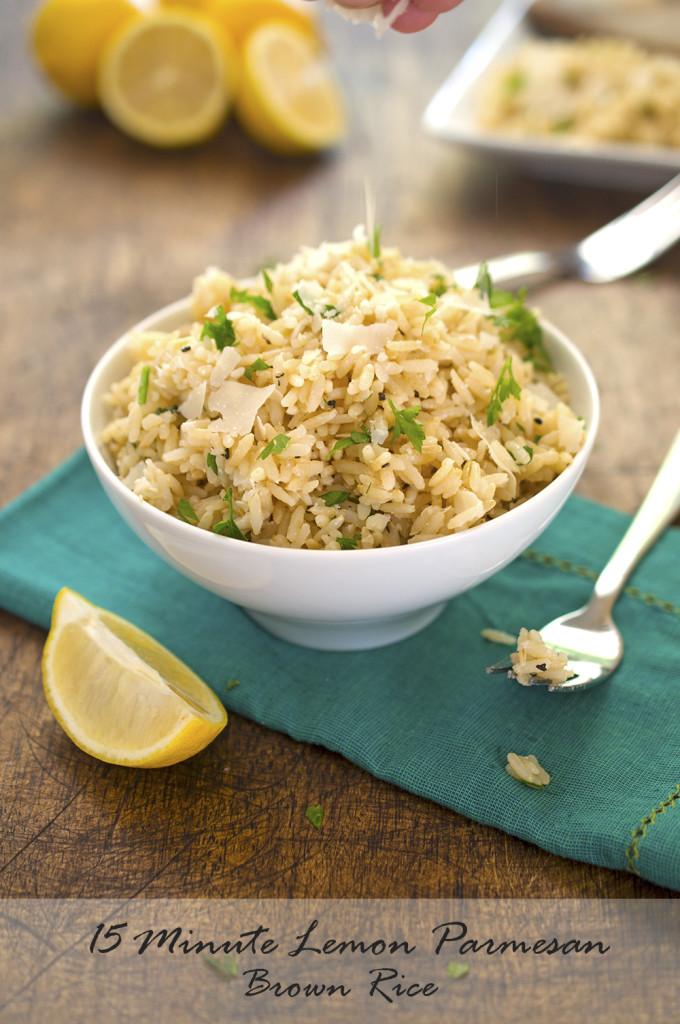 15 minute Lemon Parmesan Brown Rice