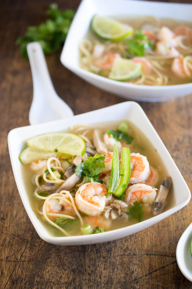 spicy shimp pho with mushrooms