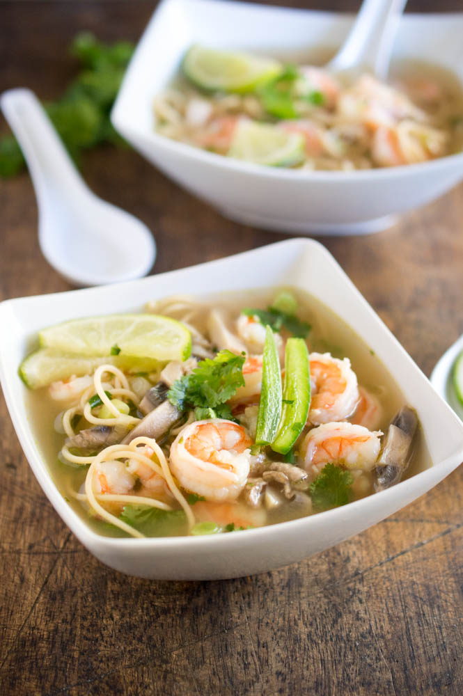 Pho with shrimp and mushrooms
