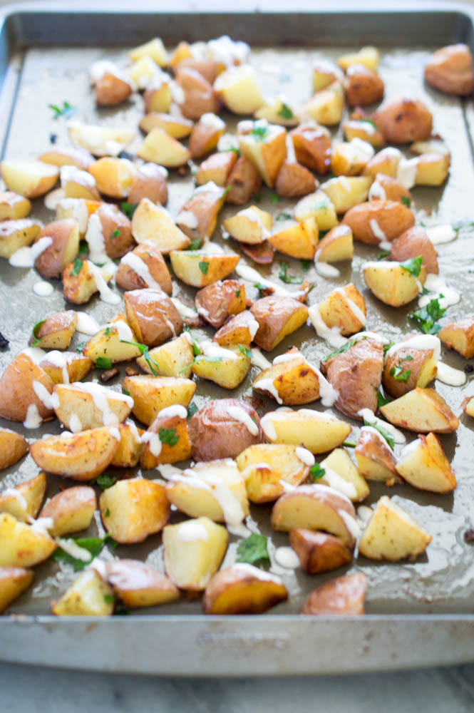 Roasted Garlic Potatoes with aioli