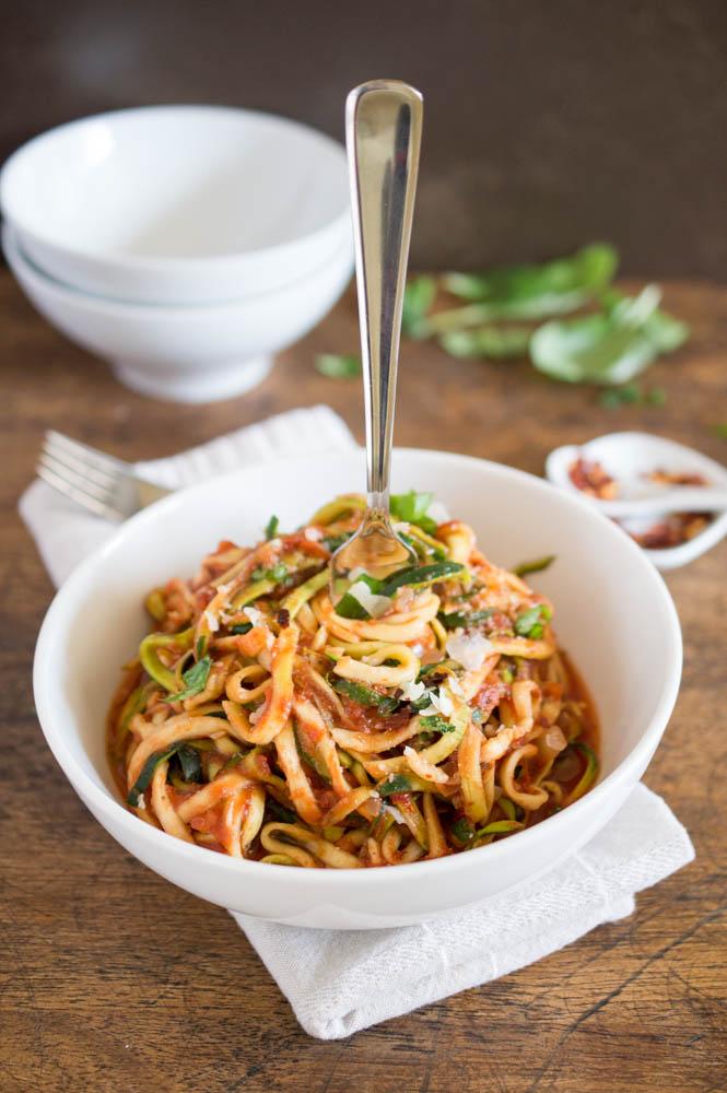 "Zucchini ""Pasta"" With Tomato Sauce"