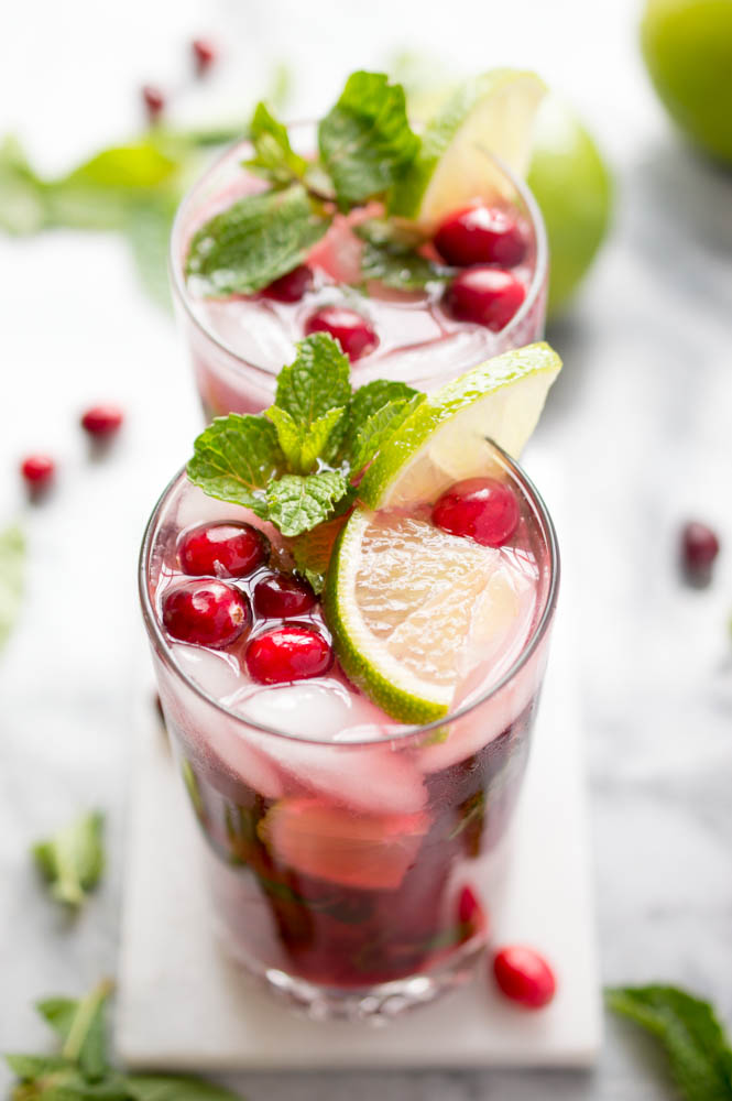 Holiday Cranberry Pomegranate Mojito