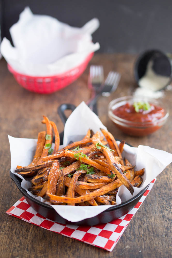 Baked Sweet Potato Fries With Spicy Ketchup
