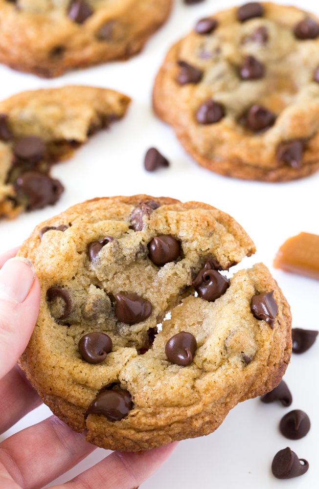 Amazing Caramel Stuffed Chocolate Chip Cookies