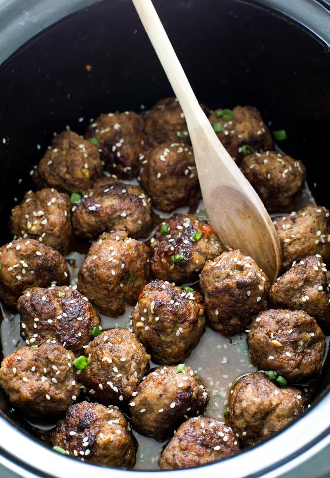 Amazing Slow Cooker Asian Sesame Meatballs