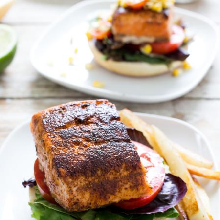 Blackened Salmon Sandwich with Grilled Corn Salsa