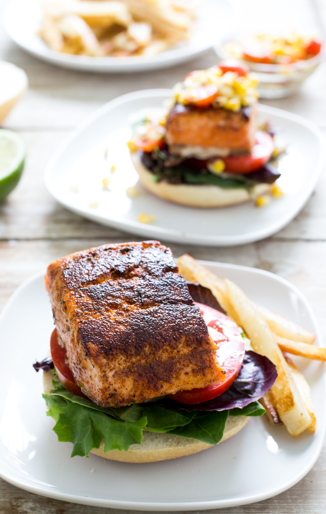 Blackened Salmon Sandwich with a Sweet and Smokey Grilled Corn Salsa ...