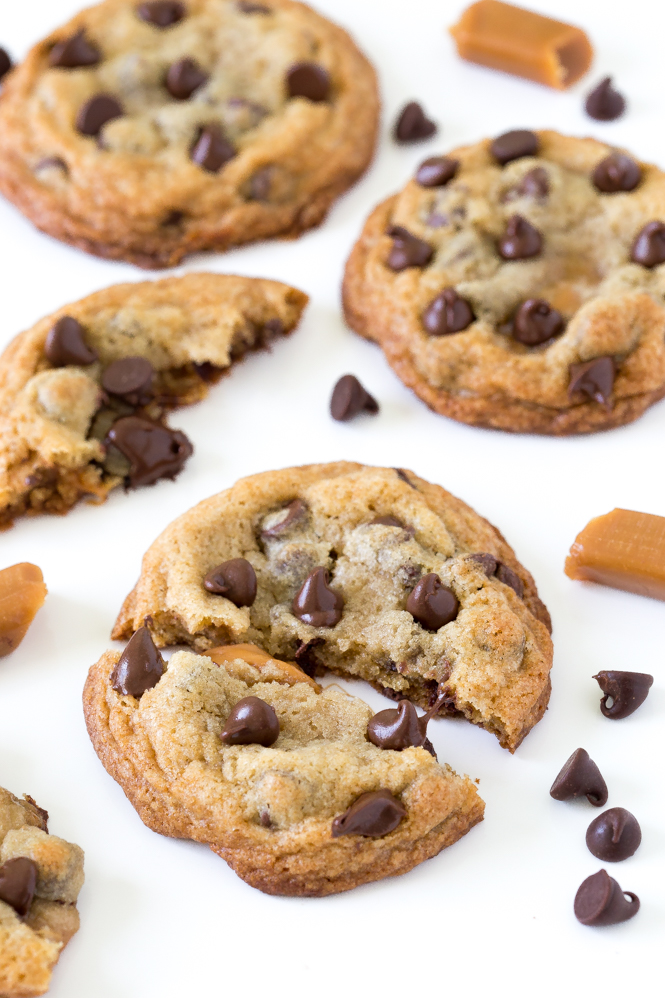 ... with some cookies. Caramel Stuffed Chocolate Chip Cookies to be exact