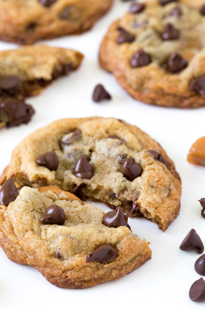 Chewy Caramel Stuffed Chocolate Chip Cookies