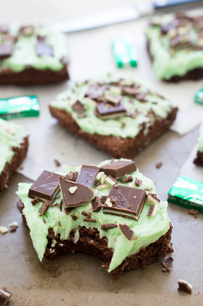 Chocolate Mint Andes Brownies | chefsavvy.com #recipe #dessert #peppermint #chocolate #brownies