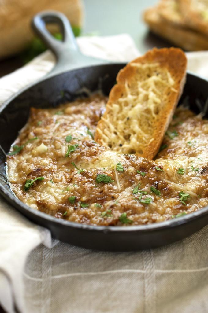 Warm French Onion Dip | chefsavvy.com #recipe #appetizer #onion #snack
