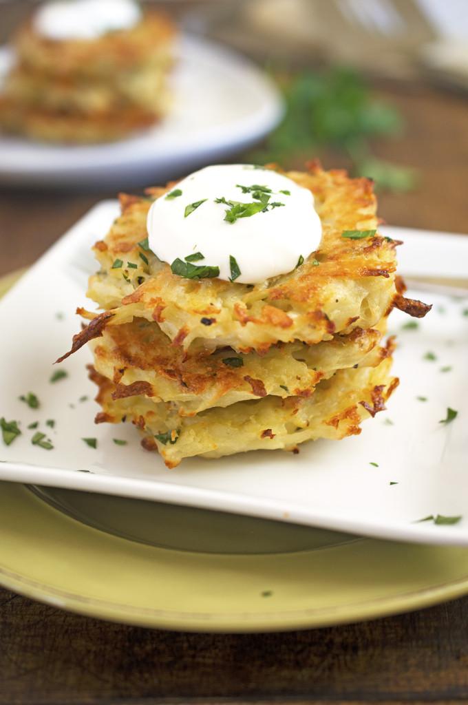 Baked Potato Pancakes | chefsavvy.com #recipe #appetizer #potato #vegetable