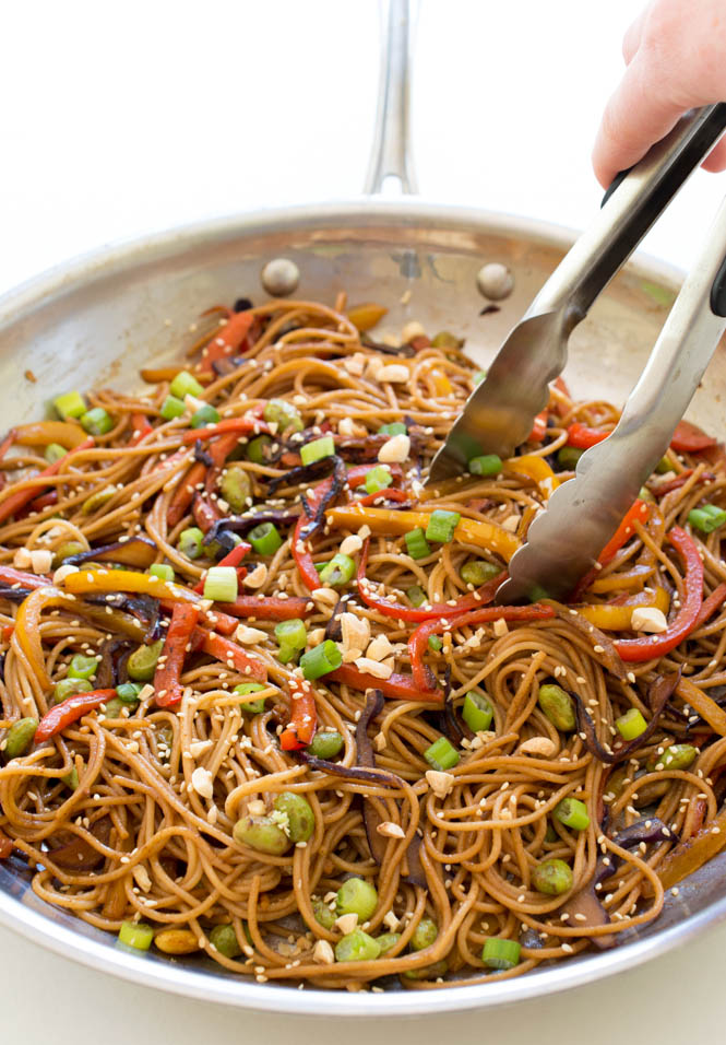 rainbow vegetable noodle stirfry