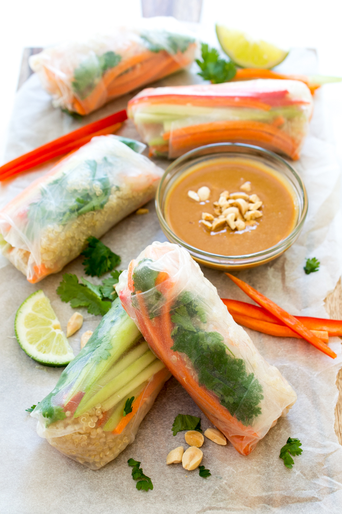 Shrimp Quinoa Vegetable Spring Rolls | chefsavvy.com #recipe #vegetables #shrimp #spring #rolls