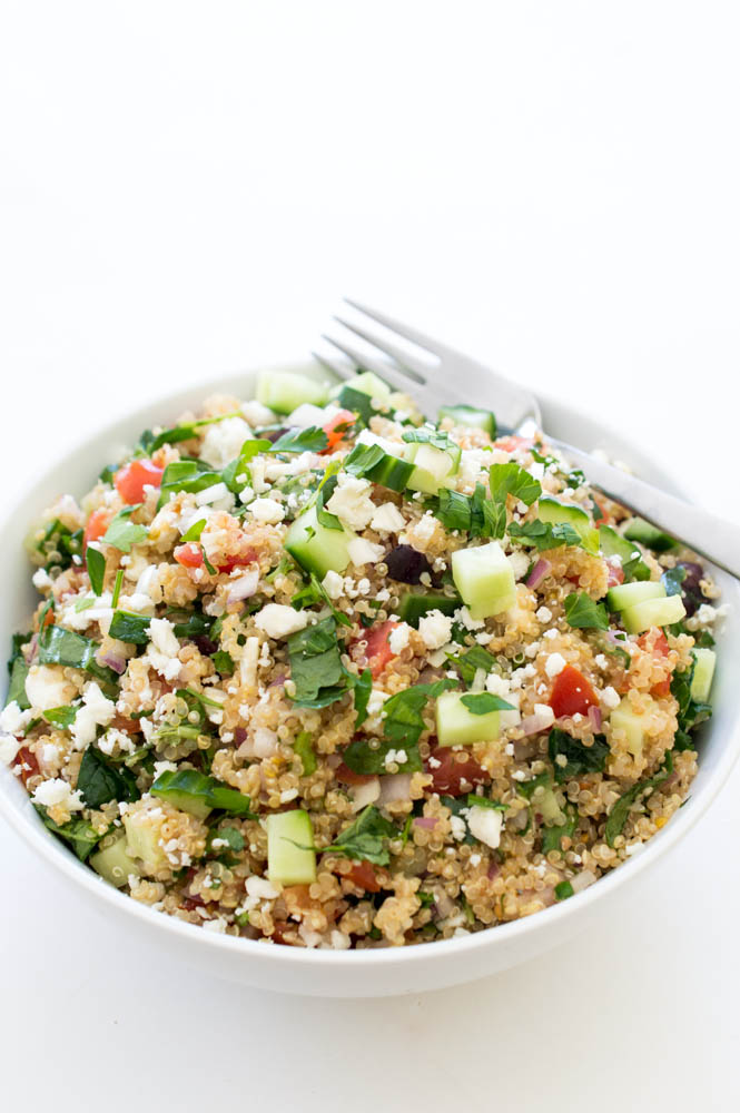 Greek Kale Quinoa Salad | chefsavvy.com #recipe #kale #quinoa #salad #healthy #vegetarian
