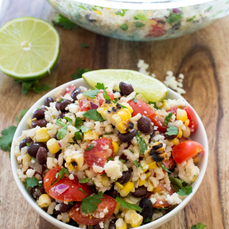 Grilled Corn and Black Bean Salad with Rice