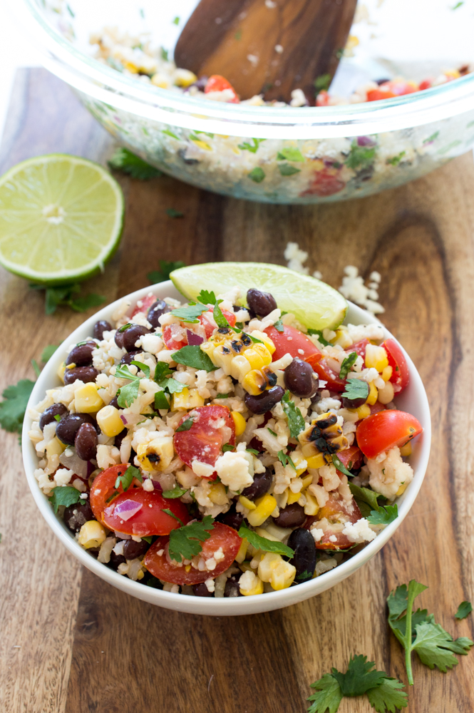 Grilled Corn and Black Bean Salad with Rice | chefsavvy.com #recipe #salad #healthy #side