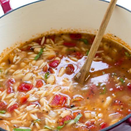 Italian Ham and White Bean Orzo Soup