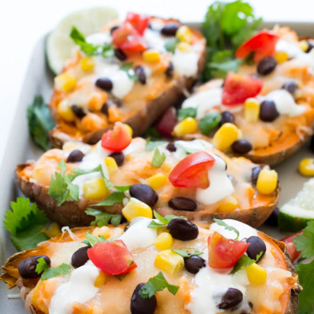 Loaded Mexican Sweet Potato Skins