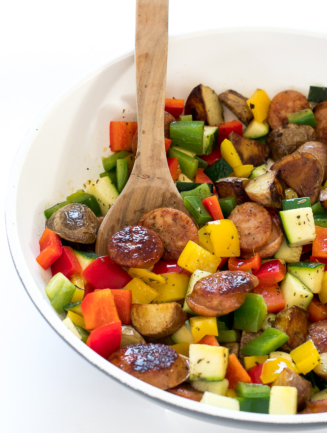 Healthy One Pan Sausage and Vegetable Skillet | chefsavvy.com