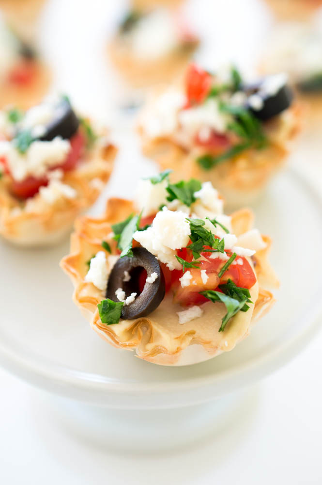 Easy Greek Hummus Phyllo Bites | chefsavvy.com #recipe #appetizer #easy #healthy
