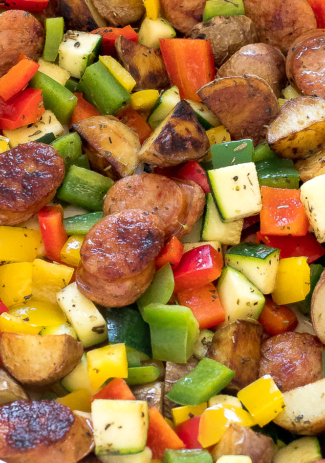 Healthy Sausage and Vegetable Skillet | chefsavvy.com
