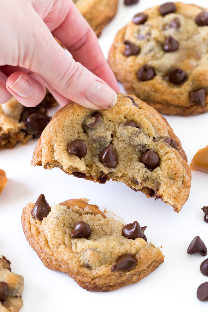 Soft and Chewy Caramel Stuffed Chocolate Chip Cookies