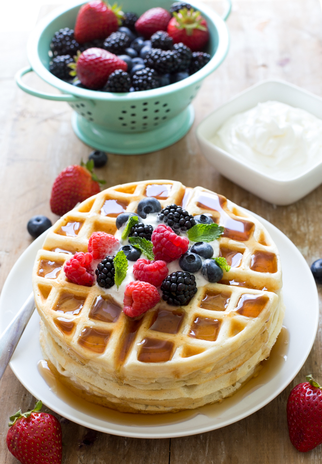 Soft and Fluffy Greek Yogurt Waffles