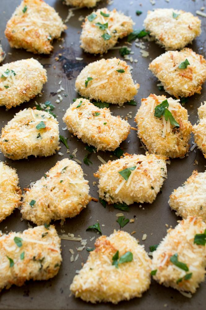 Baked Parmesan Garlic Chicken Nuggets | chefsavvy.com #recipe #Parmesan #chicken #nuggets