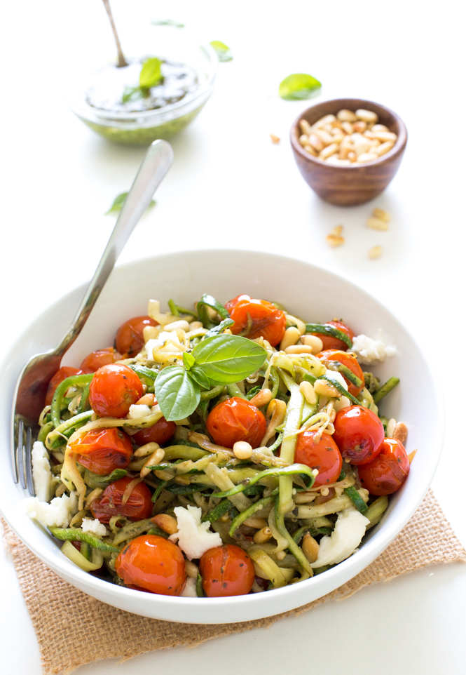 Zucchini Noodles with Blistered Tomatoes and Pesto