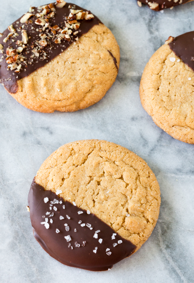 Chocolate Dipped Chewy Peanut Butter Cookies