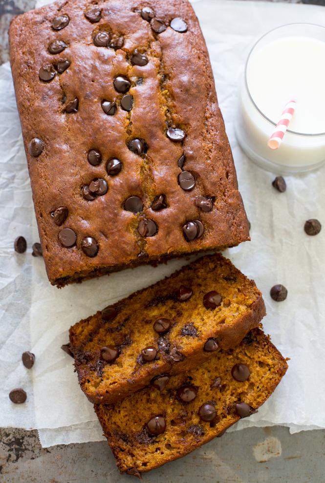 Super Soft and Tender Chocolate Chip Pumpkin Bread