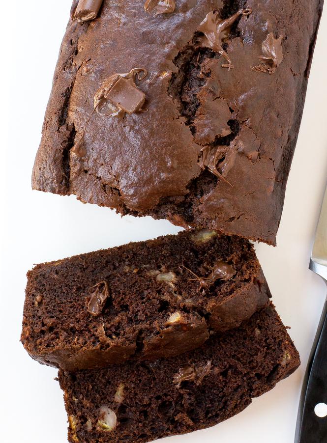 Easy Double Chocolate Banana Bread | chefsavvy.com