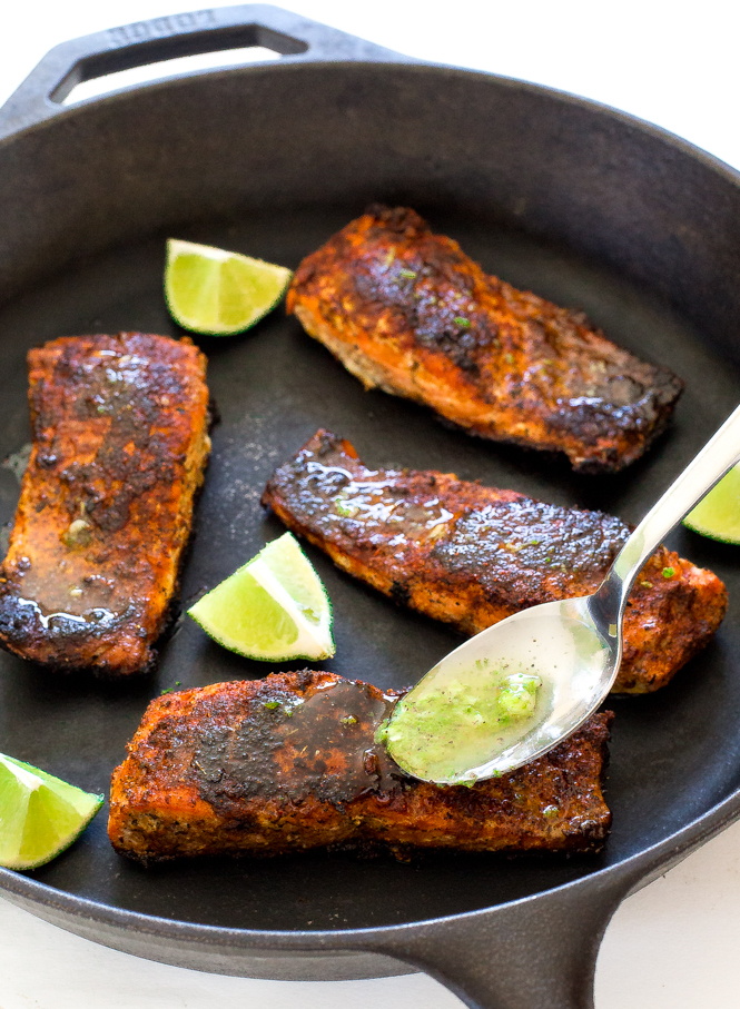 Blackened Salmon with Lime Butter Sauce