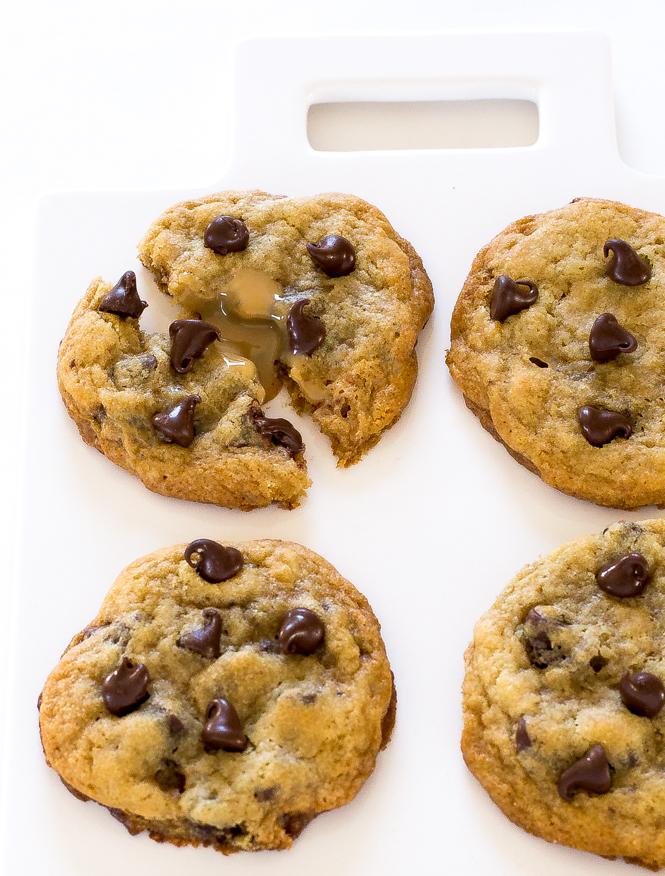 Dulce de leche stuffed Chocolate Chip Cookies | chefsavvy.com