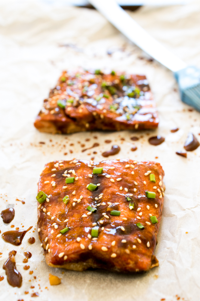 Teriyaki Baked Salmon | chefsavvy.com #recipe #fish #seafood #salmon #teriyaki