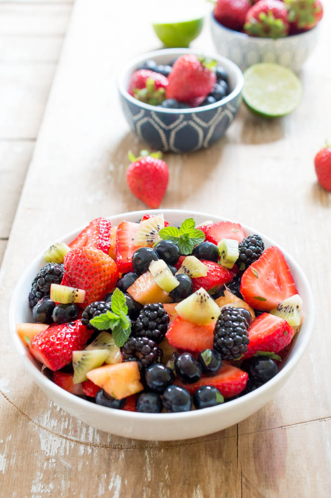 Summer Fruit Salad with Lime, Mint and Honey | chefsavvy.com #recipe #fruit #healthy #salad