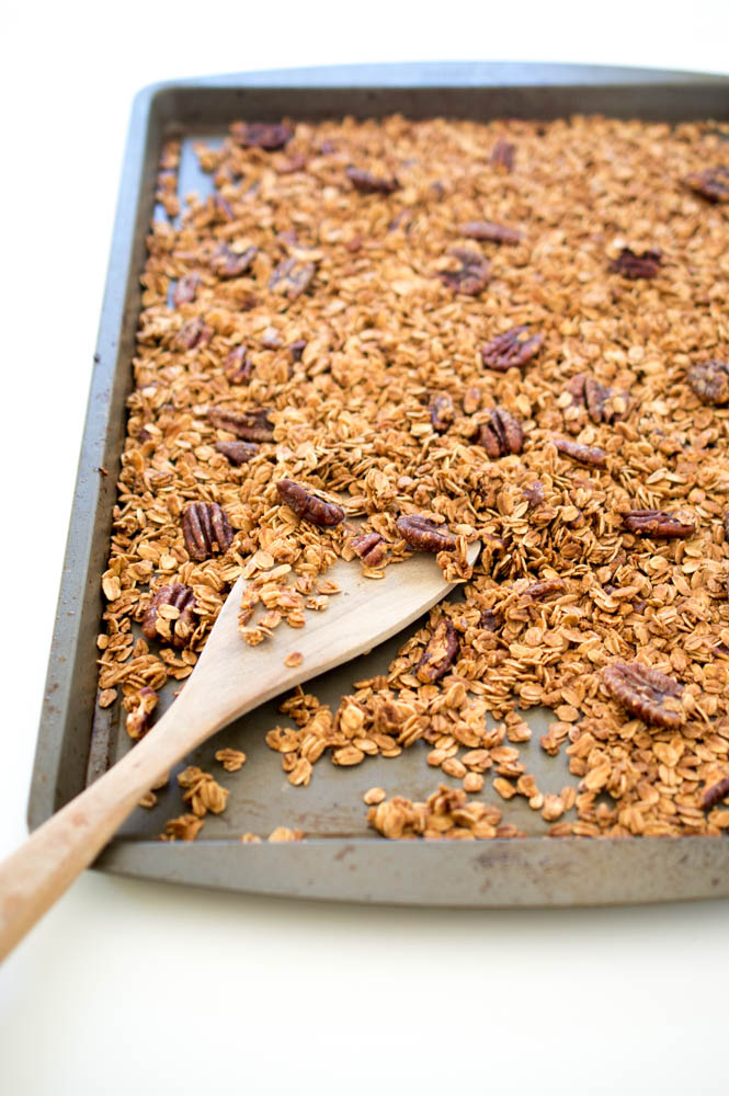 Easy Maple Pecan Granola | chefsavvy.com #recipe #breakfast #granola #healthy