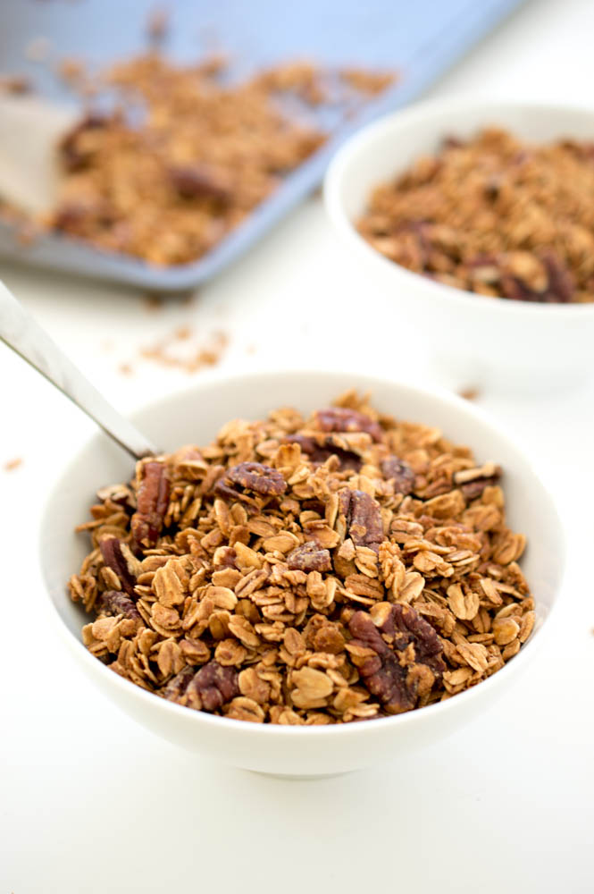 Simple Maple Pecan Granola | chefsavvy.com #recipe #breakfast #granola #healthy