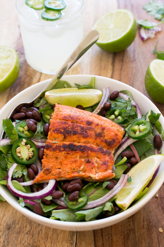 Mexican Salmon Salad | chefsavvy.com #recipe #salmon #salad #healthy