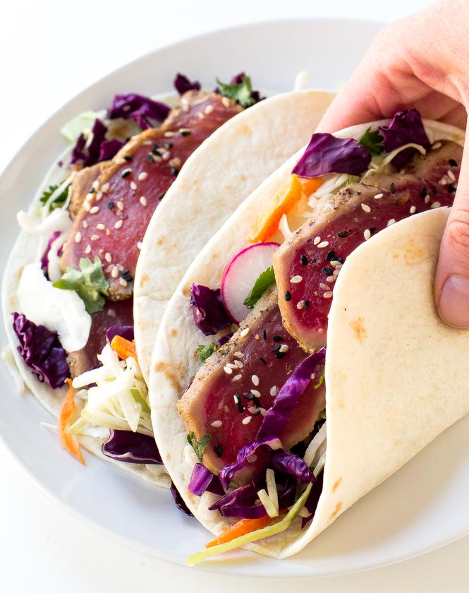 Ahi tuna tacos chef savvy for Tuna fish tacos